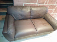 Small brown 2 Seater Leather Sofa in good condition