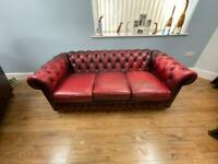 Oxblood red leather 3 seater chesterfield