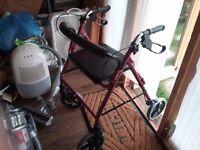 Burgundy disabled walker