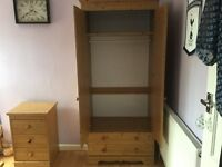 Pine wardrobe and small chest of draws