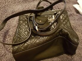 Beautiful Black Leather Guess Handbag - Brand New With Dustbag