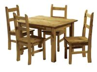 Corona Mexican Pine Dining Table and 4 Chairs