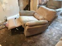 4 seater couch & 2 electric reclining chairs