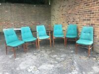 6 1960s Vanson Retro G-Plan Upholstered Dining Chairs