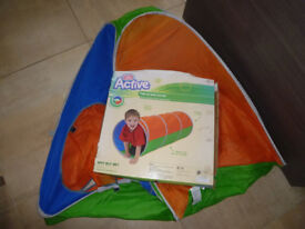 Chad Valley Childrens Pop Up Tent & Tunnel Indoor/Outdoor Play Orange/Blue/Green