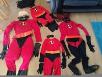 4x Disney Incredibles Fancy Dress Costume - Full set of 4 - Perfect Condition - Halloween Outfit
