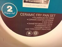 2 x Ceramic Frying Pans Set, MHP, Dia 20cm & 24cm, RRP £29.99,