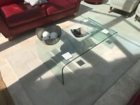 Glass coffee and side table set