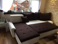 White-brown modern Corner sofa bed.Only 5 months old!!
