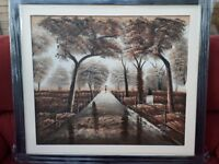 Hand painted picture with black frame