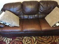 Leather sofa 3 piece dark brown.