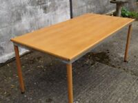 LIGHT OAK WORK TABLE WITH REMOVABLE LEGS
