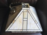 Art Deco style wall lamps and matching shade. Shade 40cm x40 cm. wall fittings 20cm x13cm.