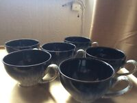 6 denby tea cups with soucers