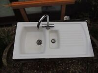 Kitchen Sink - One and One half Bowl White Ceramic with Chrome Tap