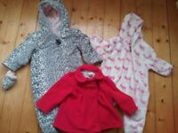 Cosy winter pramsuits and Red Jasper Conran coat for baby girl size 9-12 months