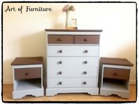 Solid Wooden Bedroom Furniture Set Chest Of Drawers & Bedside Tables Hand Painted Grey Mineral Paint
