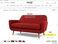 Jonah 2 Seater Sofa, Ketchup Red