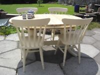 Shabby Chic Solid Pine Ducal extending Farmhouse Country Table and 4 Chairs In Farrow& Ball Cream 67