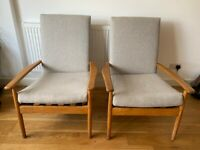 Pair of Original Mid Century 1960's Beech Armchairs recently reupholstered