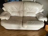 Cream leather suite 3&2 seater & 1 swivel recliner chair
