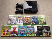 Xbox 360 E with 2 controllers and selection of games