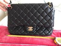 Chanel Leather Quilted Classic Flap Bag Medium Black