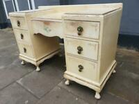 Low Shabby Chic Art Deco Vintage Desk / Dressing Table