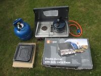 Camping Stove/Cooker & Grill with Gas and Kettle