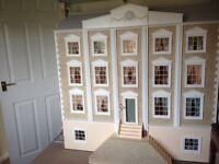 Large Georgian Dolls House with contents and lights
