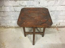 Small Asian Carved Wooden Table With Animal Carvings! Stunning