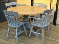 pine farmhouse style round table and chairs