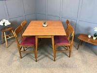 Retro Dining Table & Chairs - Drop Leaf Extendable Table 1960's Teak Formica & 4 Chairs