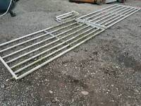 Pair of Ritchie galvanised field paddock gate with centre hood total opening is 17ft tractor
