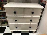 Large Victorian pine chest of drawers - white