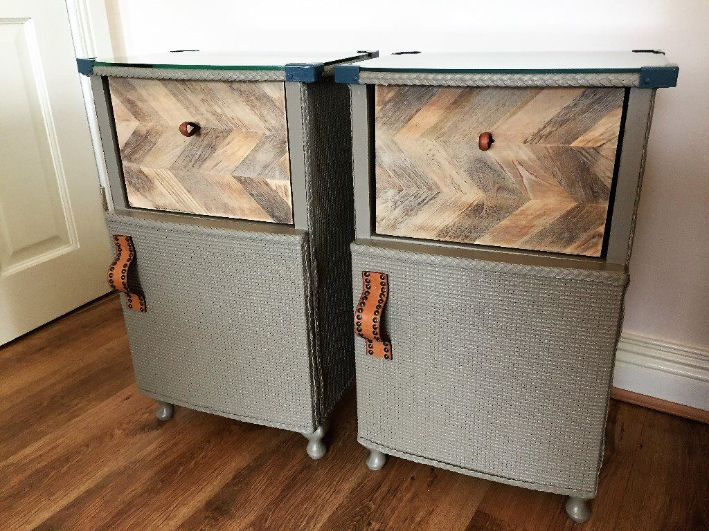 VINTAGE UPCYCLED LLOYD LOOM STYLE PAIR LAMP BEDSIDE TABLES/CHEST ...