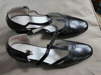 Black T-bar shoes size 7