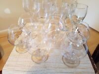 A variety of good quality attractive bubble glasses, wine glasses + snifter glass