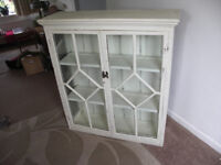 Antique Solid Pine Glass Cabinet Shabby Chic White.