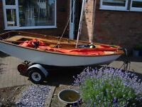 For sale mirror sailing dingy, sails, outboard motor , launching trolley, road trailer