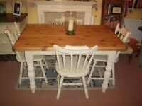 "FARMHOUSE TABLE AND FOUR CHAIRS 4ft 6"" x 3ft"