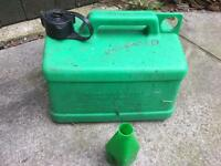 Petrol can with unleaded for mower or strimmer or garden tools