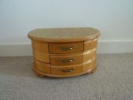 Large Wooden JEWELLERY BOX 6Curved and 3 rectangular Drawers