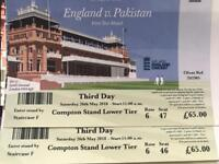 Pairs of ticket for England v Pakistan at Lords - Sat 26th May- £110 for both (face value £65 each)