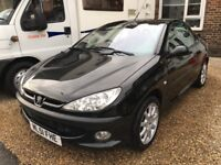 Peugeot 206cc convertible with alloy wheels and cd radio and remote locking and long M.O.T x x x.