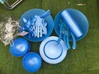 Picnic Set 12 Person Reusable Plastic Blue Summer Party Barbecue