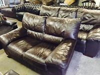 As new leather 3 and 2 sofas in brown