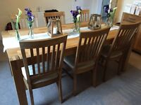 Barker & Stonehouse Hannover solid oak wood dining table with 6 chairs