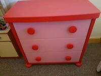 Ikea mammut girls bedroom furniture.. drawers and toddler bed (pink & red)