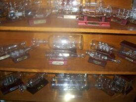 glass boats in bottles